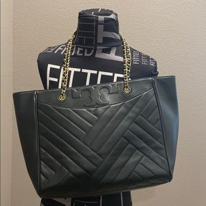 Tory Burch Alexa Quilted Black Tote